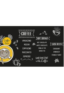 "Tapete Transfer ""Coffee House""- Preto & Amarelo- 60Xtapetes Junior"