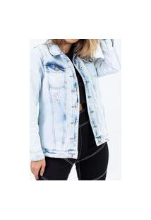 Jaqueta Maxi Jeans Azul Claro Lady Rock