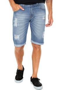 Bermuda Jeans Gangster Reta Estonada Azul