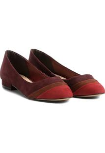 Sapatilha Couro Shoestock Mix Color Feminina - Feminino-Bordô
