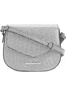 Bolsa Loucos & Santos Flap Mini Bag Matelassê Mesh Feminina - Feminino-Branco+Preto