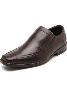 Sapato Social Couro Ferracini Pesponto Marrom
