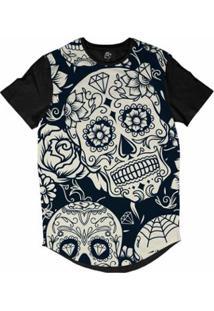 Camiseta Bsc Longline Caveira Mexicana Diamante 2 Masculina - Masculino-Azul