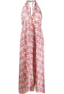 Isabel Marant Vestido Frente Única Com Estampa - Laranja