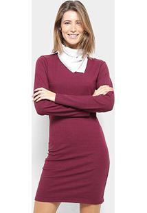 Vestido Aura Tubinho Curto Lenço Manga Longa - Feminino-Vinho