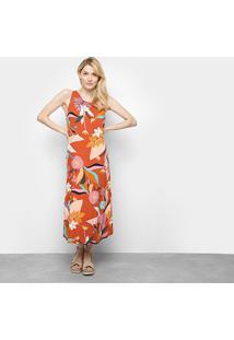 Vestido Cantão Longo Tropical Barra Babado - Feminino