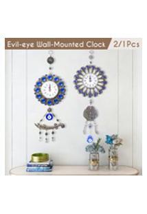 (Bateria Não Incluída) 2 / 1Pcs 17 X 42 / 48Cm Turco Muçulmano Azul Amuleto Do Olho-Mau Relógio De Parede Pingente Relógio De Parede Para Bênção Ou Oração Em Casa
