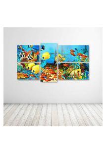 Quadro Decorativo - Fish Corals Underwater Ocean Tropical - Composto De 5 Quadros