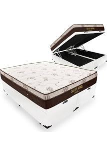 Cama Box Com Baú King + Colchão De Molas Ensacadas - Ortobom - Sleep King - 193X203X74Cm Branco