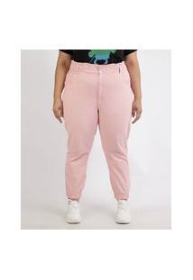 Calça De Sarja Feminina Plus Size Mom Jogger Cintura Super Alta Rosa Claro
