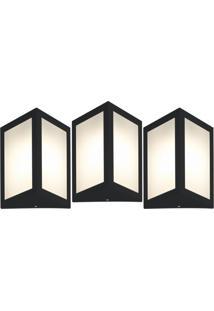 Arandela Triangular Preto Kit Com 3 Casah - Preto - Dafiti