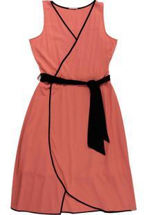 Vestido Em Tecido Com Decote V Vermelho