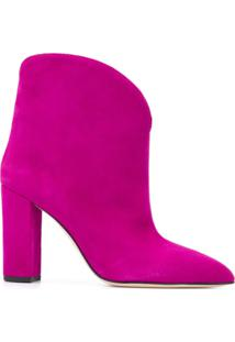 Paris Texas Ankle Boot Bico Fino Western - Rosa