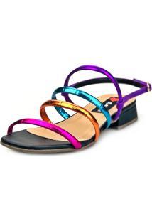 Sandália Saltinho Baixo Love Shoes Tiras Metalizadas Fashion Preto - Tricae