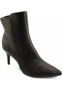 Ankle Boot Bico Fino Offline - Feminino-Preto