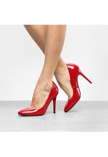 Scarpin Ala Salto Alto Bico Redondo - Feminino-Vermelho