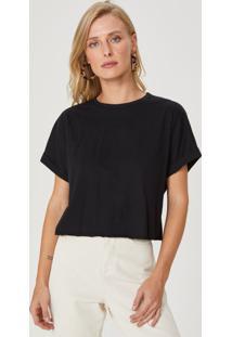 Amaro Feminino T-Shirt Cropped Ampla Decote Costas, Preto