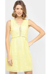 Vestido Pérola Curto Com Renda - Feminino-Amarelo