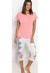 Pijama Capri Floral- Rosa Claro & Off White- Danieladaniela Tombini