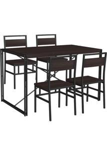 Conjunto De Mesa Wooden Com 4 Cadeiras Preto E Tabaco