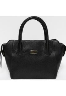Bolsa Em Couro Texturizada- Preta & Dourada- 22X37X1Anette