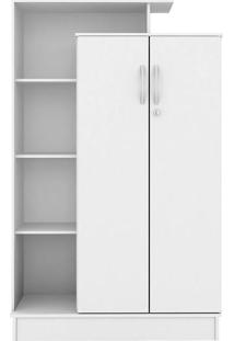 Armário Multiuso 2 Portas Com Chave Elite Branco Brilho – Demóbile