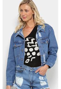 Jaqueta Jeans Farm Oversized Refarm Puídos Feminina - Feminino-Azul Escuro