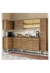 Cozinha Completa De Canto Madesa Emilly Wave Com Armário Vidro Reflex, Balcão E Paneleiro Rustic Cor:Rustic