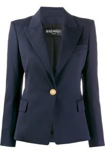 Balmain Blazer De Alfaiataria Com Abotoamento Simples - Azul