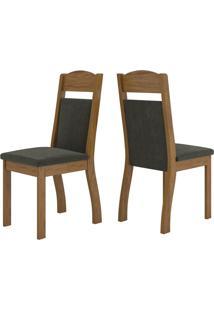 Cadeiras Kit 2 Cadeiras Selena 14109 Seda/Marrom - Viero Móveis