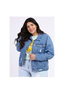 Jaqueta Jeans Feminina Plus Size Destroyed Azul Médio