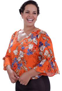 Blusa Vickttoria Vick Antonella Orange Plus Size