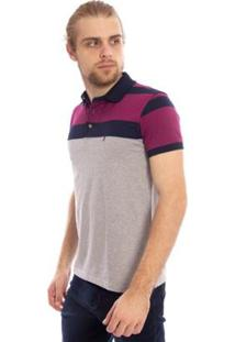 Camisa Polo Aleatory Listrada Dols Masculina - Masculino-Roxo+Cinza
