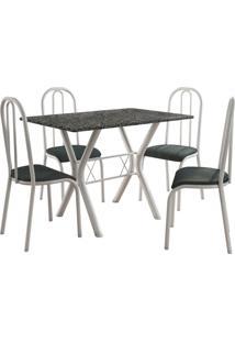 Conjunto De Mesa Miami 4 Cadeiras Branco/Petróleo Fabone Móveis Tubulares