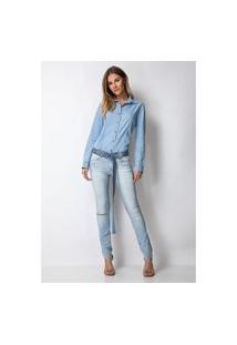 Calça Skinny Low Vênus Lança Perfume Jeans Azul
