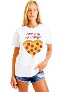 Camiseta Joss Estampada Pizza Is My Crush Feminina - Feminino-Branco