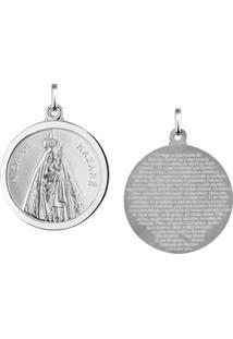 Pingente Nossa Senhora De Nazaré Redonda Em Prata 925 - Unissex-Prata