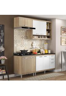 Cozinha Completa Com Balcão Com Tampo 5 Peças 7 Portas Sicília Multimóveis Argila/Branco