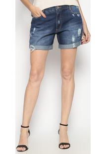 Bermuda Jeans Destroyed- Azul Escuroenna