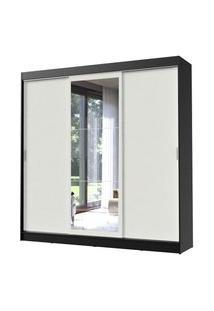 Guarda-Roupa Casal Madesa Istambul 3 Portas De Correr Com Espelho 3 Gavetas Preto/Branco Branco