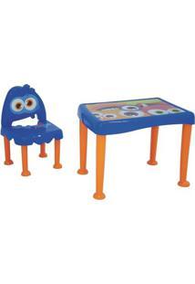 Mesa Com Cadeira Monster- Azul Escuro & Laranja- 2Pã§Tramontina