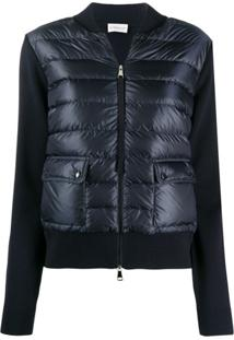 Moncler Short Quilted Zipped Jacket - Azul