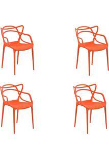 Kit 4 Cadeiras Decorativas Sala E Cozinha Feliti (Pp) Laranja - Gran Belo - Laranja - Dafiti