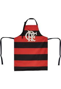 Avental Do Flamengo Listrado - Unissex-Preto+Vermelho
