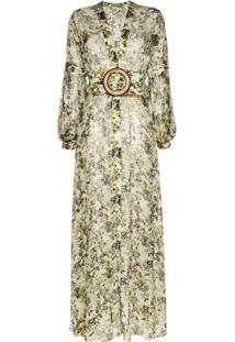 Silvia Tcherassi Vestido Farolillo Floral Com Cinto - Verde