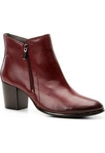Bota Couro Cano Curto Shoestock Zíper Feminina - Feminino-Vinho