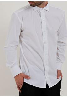 Camisa Slim Fit Manga Longa Masculina Branco