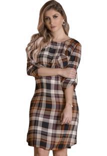 f43aeb8173b7d Ir para a loja  -31% Vestido Mamorena Xadrez Com Bolsinho Marrom