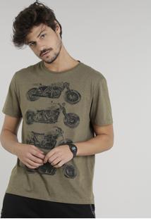 Camiseta Masculina Motocicletas Manga Curta Gola Careca Verde Militar