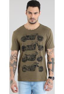 Camiseta Motocicletas Verde Militar